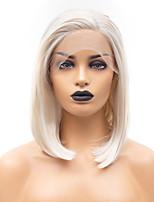 abordables -Perruque Lace Front Synthétique Droit soyeux Partie latérale Lace Frontale Perruque Court Blond clair Cheveux Synthétiques 8-16 pouce Femme Doux Résistant à la chaleur Synthétique Rouge Blond