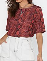 abordables -Tee-shirt Femme, Bloc de Couleur Basique Rouge