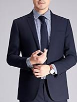 abordables -Noir / Bleu Marine Couleur Pleine Coupe Sur-Mesure Polyester Costume - Cranté Droit 2 boutons / costumes
