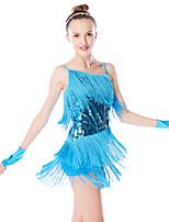cheap -Latin Dance Dresses Women's Performance Mesh / Lycra Tassel / Paillette Sleeveless Dropped Dress / Gloves / Headwear