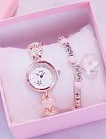 cheap -Women's Quartz Watches New Arrival Fashion White Silver Pink Stainless Steel Chinese Quartz Rose Gold White+Pink Blushing Pink Chronograph Cute New Design 2pcs Analog One Year Battery Life