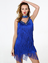 cheap -Latin Dance Dresses Women's Training / Performance Polyester / Cotton Blend Tassel / Paillette Sleeveless Natural Dress / Neckwear