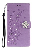 cheap -Case For Samsung Galaxy Galaxy S10 / Galaxy S10 Plus / Galaxy S10 E Wallet / Card Holder / Rhinestone Full Body Cases Solid Colored / Flower PU Leather
