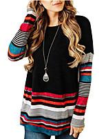 abordables -Tee-shirt Femme, Bloc de Couleur Noir