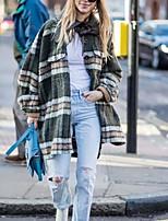 cheap -Women's Going out Street chic Fall & Winter Regular Coat, Plaid Black & White Turndown Long Sleeve Polyester Print Green