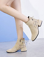 cheap -Women's Boots Low Heel Round Toe Faux Leather Booties / Ankle Boots Fall & Winter Black / Beige