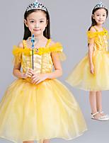 cheap -Belle Dress Masquerade Flower Girl Dress Girls' Movie Cosplay A-Line Slip Cosplay Halloween Yellow Dress Halloween Carnival Masquerade Tulle Chiffon