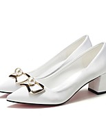 cheap -Women's Wedding Shoes Chunky Heel Pointed Toe Pearl PU Fall & Winter White / Champagne / Red