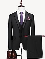abordables -Noir / Bleu / Gris Couleur Pleine Coupe Sur-Mesure Polyester Costume - Cranté Droit 2 boutons / costumes