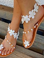 cheap -Women's Sandals Flat Heel Open Toe Imitation Pearl / Satin Flower PU Sweet Walking Shoes Summer Khaki
