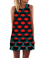 cheap -Women's Day Clutches Street Street chic Sheath Dress - Abstract Black & Red, Print Red XS S M L