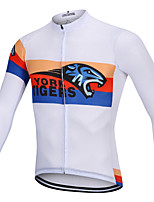 cheap -YORK TIGERS Men's Long Sleeve Cycling Jersey Winter Fleece Silicone Elastane White Tiger Bike Jersey Top Mountain Bike MTB Road Bike Cycling Thermal / Warm Breathable Quick Dry Sports Clothing Apparel