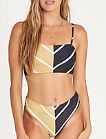 cheap -Women's Basic Khaki Halter High Waist Tankini Swimwear - Color Block S M L Khaki