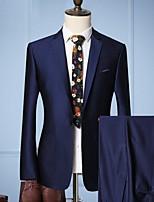 abordables -Noir / Violet / Marine foncé Couleur Pleine Coupe Sur-Mesure Polyester Costume - Cranté Droit 2 boutons / costumes