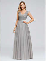 cheap -A-Line Plunging Neck Floor Length Satin / Tulle Vintage Inspired Prom Dress with Sequin by LAN TING Express