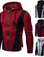cheap -Men's Cowl Neck Track Jacket Running Jacket Hoodie Jacket Patchwork Full Zip Color Block Black Red Light Grey Navy Blue Cotton Running Fitness Jogging Jacket Hoodie Long Sleeve Sport Activewear