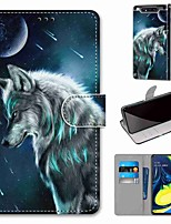 cheap -Case For Samsung Galaxy S10 / S10 Plus / S10 E Wallet / Card Holder / with Stand Contemplative Wolf PU Leather / TPU for A10s / A20s / A50(2019) / A70(2019) / A90(2019) / Note 10 Plus / J6 Plus(2018)