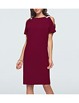 cheap -Sheath / Column Boat Neck Knee Length Jersey Elegant Cocktail Party / Party Wear Dress 2020 with Crystals / Split Front
