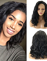 cheap -Synthetic Lace Front Wig Wavy Bouncy Curl Water Wave Free Part Lace Front Wig Medium Length Black#1B Gold Pink Black / Sapphire Blue Ombre Brown Jet Black Synthetic Hair 12-26inch Women's Gift