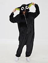 abordables -Adulte Pyjamas Kigurumi Chat Combinaison de Pyjamas Molleton Noir Cosplay Pour Homme et Femme Pyjamas Animale Dessin animé Fête / Célébration Les costumes / Collant / Combinaison
