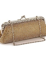 cheap -Women's Crystals Polyester Evening Bag Solid Color Gold / Silver