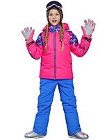 cheap -Phibee Girls' Ski Jacket with Pants Skiing Camping / Hiking Winter Sports Windproof Warm Winter Sports Polyester Warm Top Warm Pants Clothing Suit Ski Wear / Patchwork