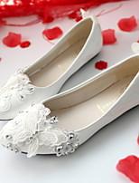 cheap -Women's Wedding Shoes Chunky Heel Round Toe PU Winter White