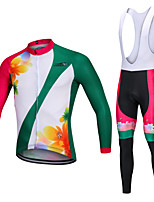 cheap -YORK TIGERS Men's Long Sleeve Cycling Jersey with Bib Tights - Kid's Winter Fleece Silicone Elastane White Green Floral Botanical Bike Jersey Bib Tights Thermal / Warm Breathable 3D Pad Quick Dry