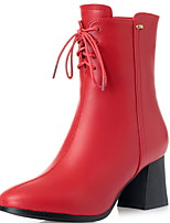 cheap -Women's Boots Chunky Heel Pointed Toe PU Booties / Ankle Boots Winter Black / Red
