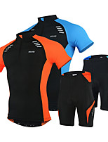 cheap -Arsuxeo Men's Short Sleeve Cycling Jersey with Shorts Polyester Spandex Black / Orange Black / Blue Bike Clothing Suit Breathable 3D Pad Quick Dry Reflective Strips Sports Solid Color Mountain Bike