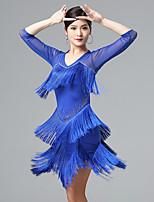 cheap -Latin Dance Dresses Women's Performance Mesh / Milk Fiber Tassel 3/4 Length Sleeve Dress