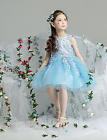 cheap -Princess Dress Masquerade Flower Girl Dress Girls' Movie Cosplay A-Line Slip Cosplay Halloween Blue Dress Halloween Carnival Masquerade Tulle Cotton
