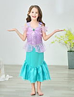 cheap -Mermaid Dress Masquerade Flower Girl Dress Girls' Movie Cosplay A-Line Slip Cosplay Halloween Light Purple Dress Halloween Carnival Masquerade Tulle Polyester Paillette