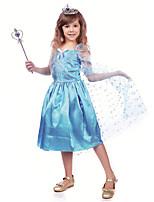 cheap -Elsa Dress Masquerade Flower Girl Dress Girls' Movie Cosplay A-Line Slip Cosplay Halloween Blue Dress Halloween Carnival Masquerade Tulle Polyster
