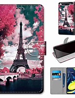 cheap -Case For Samsung Galaxy S10 / S10 Plus / S10 E Wallet / Card Holder / with Stand Pink Flower Tower Bridge PU Leather / TPU for A10s / A50(2019) / A70(2019) / A90(2019) / Note 10 Plus / J6 Plus(2018)