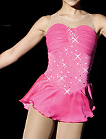 cheap -Figure Skating Dress Women's Girls' Ice Skating Dress Pink Patchwork Spandex High Elasticity Training Competition Skating Wear Patchwork Crystal / Rhinestone Sleeveless Ice Skating Figure Skating