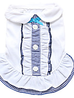 cheap -Dog Dress Dog Clothes Light Blue Yellow Blue Costume Cotton Plaid / Check Cosplay XS S M L
