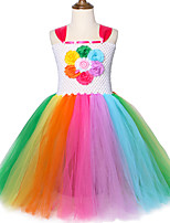 cheap -Kids Toddler Girls' Active Cute Patchwork Mesh Patchwork Sleeveless Midi Dress Rainbow