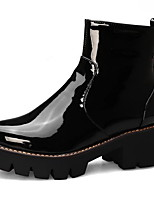 cheap -Women's Boots Chunky Heel Round Toe PU Booties / Ankle Boots Fall & Winter Black / Purple / Yellow