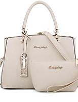 cheap -Women's Zipper PU Bag Set Solid Color 2 Pieces Purse Set Black / Blushing Pink