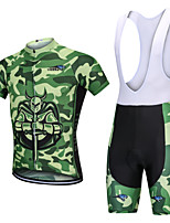cheap -YORK TIGERS Men's Short Sleeve Cycling Jersey with Bib Shorts - Kid's Silicone Elastane Lycra Army Green Camo / Camouflage Bike Bib Shorts Jersey Clothing Suit Breathable 3D Pad Quick Dry Reflective