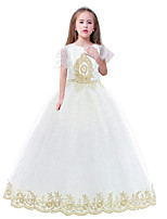 cheap -Princess Dress Masquerade Flower Girl Dress Girls' Movie Cosplay A-Line Slip Cosplay Halloween White Dress Halloween Carnival Masquerade Tulle Polyster