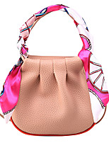 cheap -Women's Sashes / Ribbons PU Top Handle Bag Solid Color Black / Blushing Pink / Almond