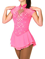 cheap -Figure Skating Dress Women's Girls' Ice Skating Dress Pink Patchwork Spandex High Elasticity Training Competition Skating Wear Patchwork Crystal / Rhinestone Short Sleeve Ice Skating Figure Skating