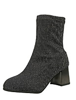 cheap -Women's Boots Chunky Heel Round Toe Suede Booties / Ankle Boots Winter Black / Silver