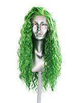 cheap -Synthetic Lace Front Wig Loose Curl Side Part Lace Front Wig Long Green Synthetic Hair 18-30 inch Women's Cosplay Heat Resistant Classic Green / Natural Hairline