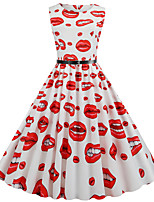 cheap -Women's Daily Dress Vintage Basic Swing Dress - Geometric Print White S M L XL