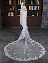 cheap -One-tier Classic Style / Lace Wedding Veil Cathedral Veils with Solid / Pattern 118.11 in (300cm) POLY / Lace