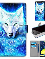 cheap -Case For Samsung Galaxy S10 / S10 Plus / S10 E Wallet / Card Holder / with Stand Howling Rose Wolf PU Leather / TPU for A10s / A20s / A50(2019) / A70(2019) / A90(2019) / Note 10 Plus / J6 Plus(2018)