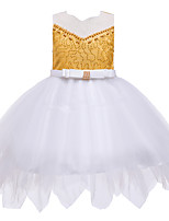 cheap -Kids Toddler Girls' Active Cute Patchwork Solid Colored Beaded Bow Mesh Sleeveless Knee-length Dress Wine